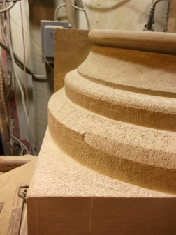Templated, carved sandstone column base for Fredericton City Hall